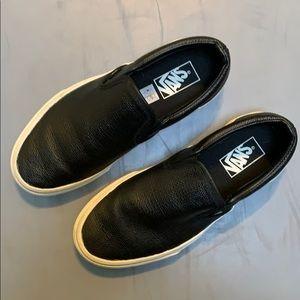 Vans Black Leather Slip On Shoes size 8.5